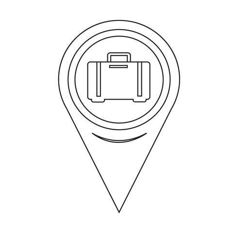 Icona bagagli mappa puntatore vettore