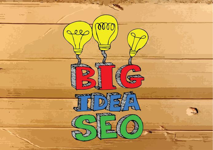 Seo Idea SEO Search Engine Optimization sull'illustrazione di struttura del cartone vettore