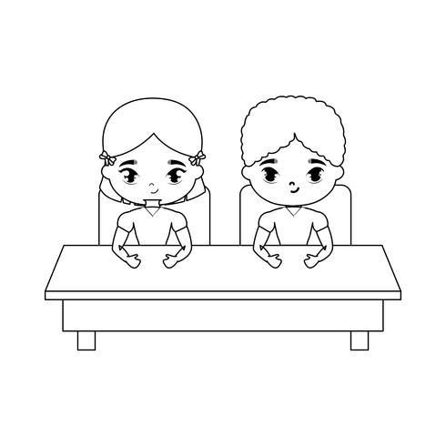 piccoli studenti seduti nel banco di scuola vettore