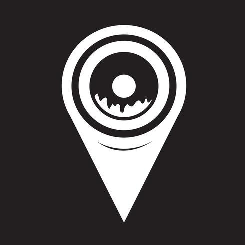 Icona della ciambella puntatore della mappa vettore