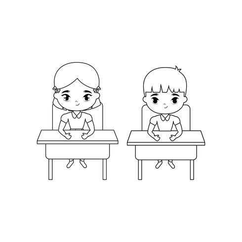 piccoli studenti seduti nei banchi di scuola vettore