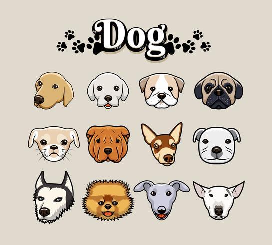 Set di illustrazione testa di cane vettore