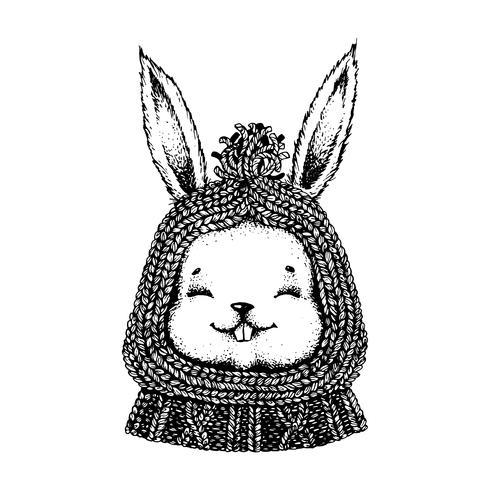 Lepre in bianco e nero con cappello e maglione. vettore