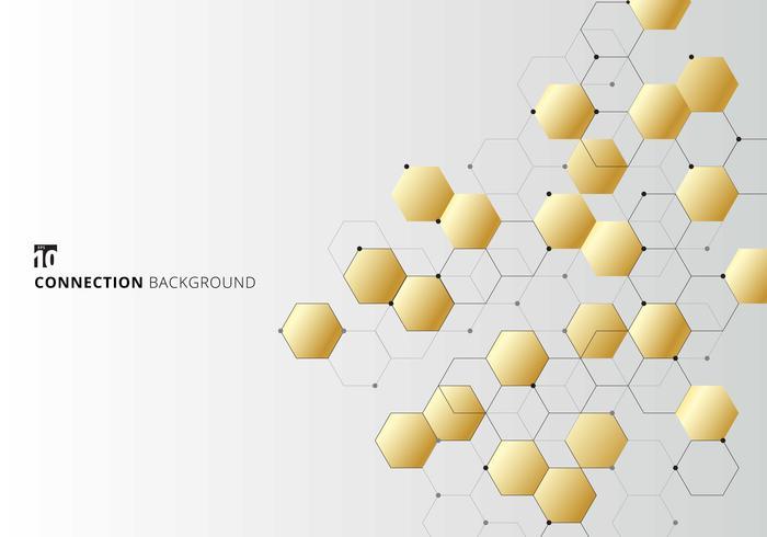 Esagoni d'oro astratti con nodi digitali geometrici con linee nere e punti su sfondo bianco. Concetto di connessione tecnologica. vettore