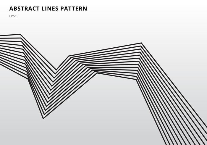 La banda nera astratta allinea l'arte ottica grafica su fondo bianco vettore