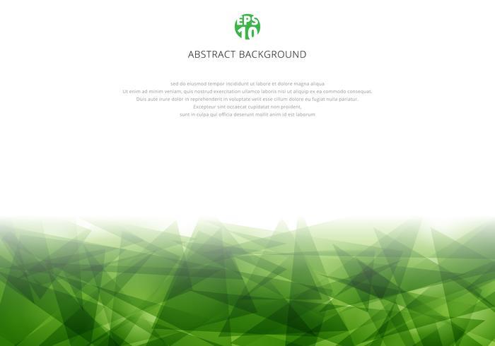 Poligonale verde astratto che si sovrappone sul fondo bianco con lo spazio della copia. Triangoli geometrici in stile moderno vettore