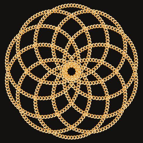 Modello rotondo realizzato con catene dorate. Sul nero. Illustrazione vettoriale