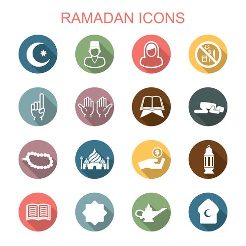 Icone di lunga ombra di Ramadan vettore