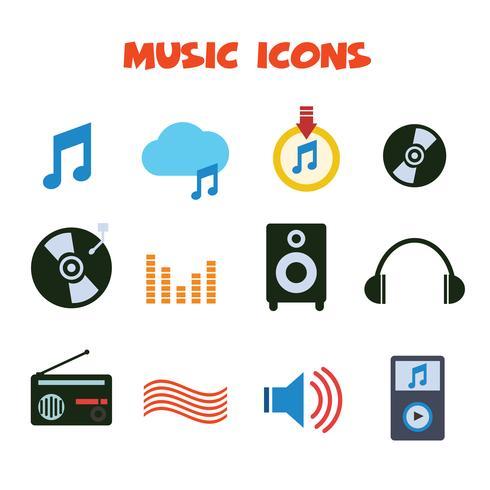 icone di colore di musica vettore