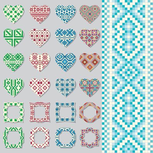 Set di cornici decorative e cuori in stile etnico. Modello senza soluzione di continuità vettore