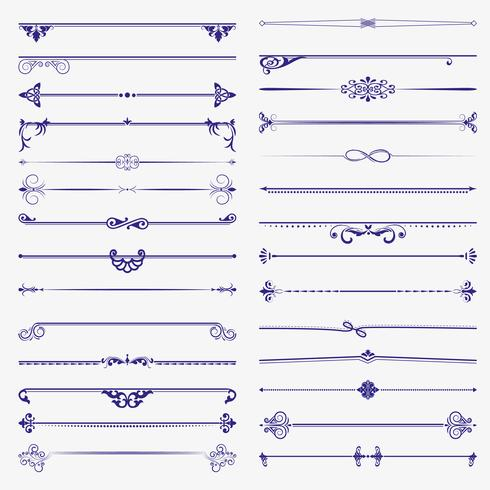 Grande set di divisori. Elementi calligrafici di disegno vettoriale e decorazione della pagina