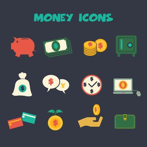 icone di colore dei soldi vettore