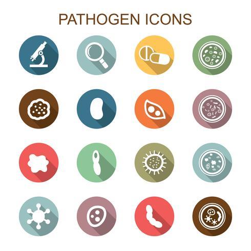 patogeno icone lunga ombra vettore