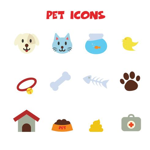 icone di colore dell'animale domestico vettore