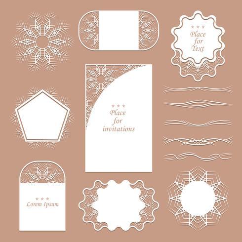 Set di tovaglioli di pizzo. Può essere usato come cornici, design per tag. I separatori registrano le tue idee vettore
