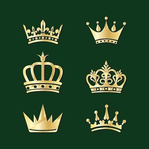Set di corone. Elementi vettoriali di ricamo.