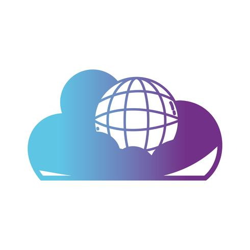 linea dati cloud con server di connessione globale vettore