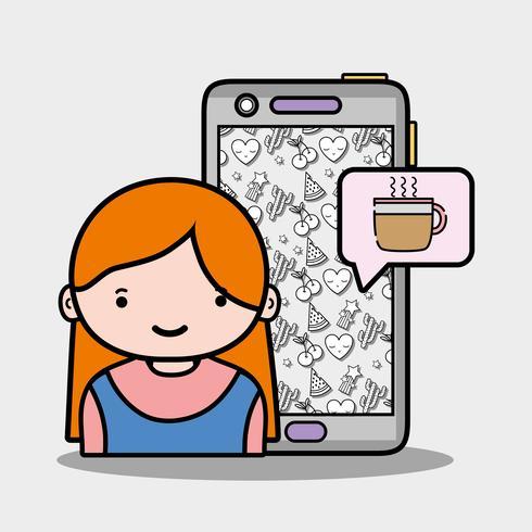 ragazza con chat smartphone e tazza di caffè vettore