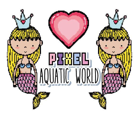 Cartoni animati del mondo acquatico Pixel art vettore