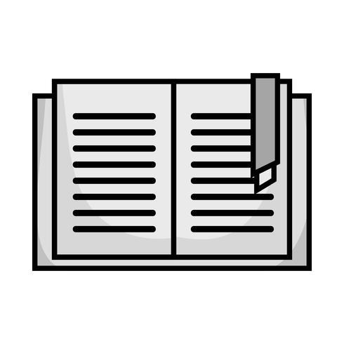 oggetto del libro di istruzione in scala di grigi per imparare e studiare vettore