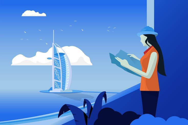 Abbellisca la vista del mare con Burj Al Arab Jumeirah. Donne Vedi la mappa del mondo. Lei è in piedi alla finestra. Concetto di tempo di viaggio e di vacanza. vettore