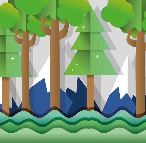 Foresta di arte di carta vettore