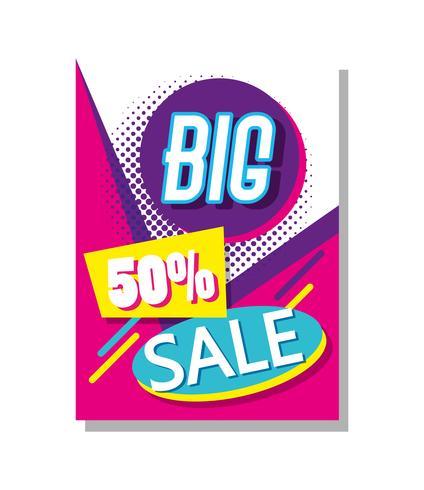 Mega vendita sconti poster stile memphis vettore