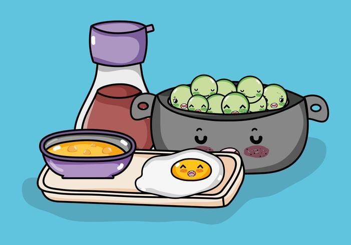 Simpatici cartoni animati kawaii della gastronomia giapponese vettore