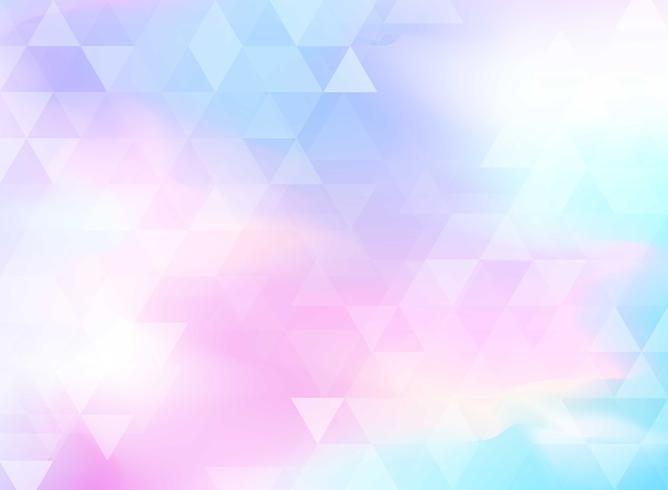 Modello astratto triangoli colorati su sfondo di foglio olografico. vettore
