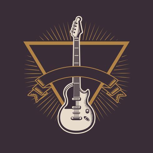 Emblema vintage rock and roll con disegni vettore