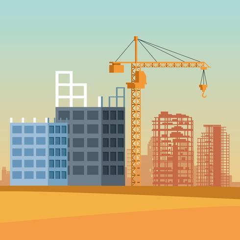 fumetto del sito di costruzione vettore