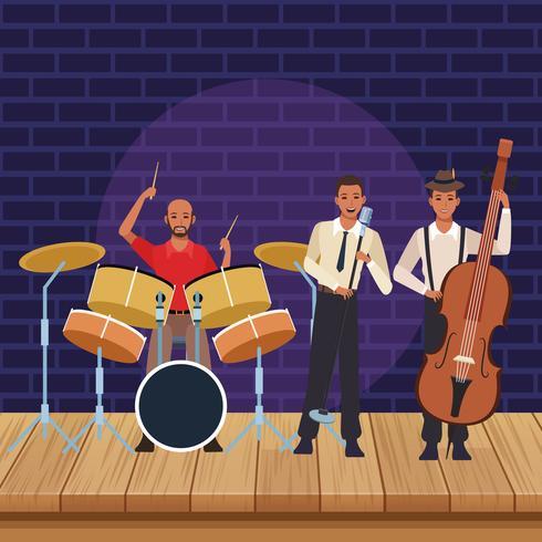 Cartone animato di banda musicale vettore