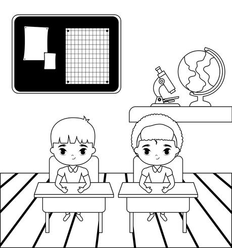 piccoli studenti nella scena dell'aula vettore
