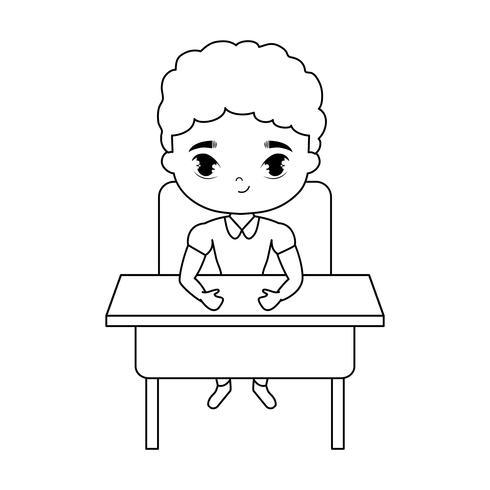 ragazzino studente seduto nel banco di scuola vettore