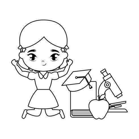 ragazza studentessa carina con scuola di forniture vettore
