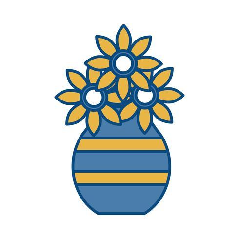 vaso con icona di fiori vettore
