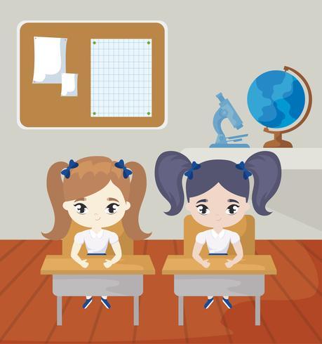 piccole studentesse nella scena dell'aula vettore