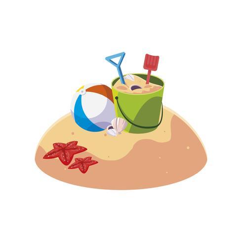spiaggia di sabbia estiva con scena giocattolo secchio di sabbia vettore