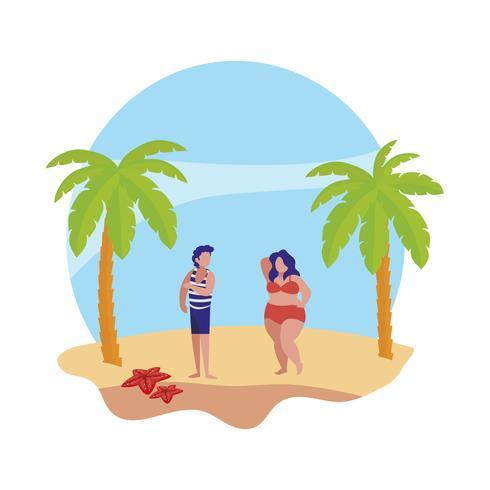 ragazzo con donna sulla scena estiva spiaggia vettore