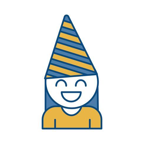 ragazza con icona del cappello di festa vettore