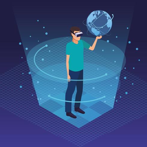 Realtà virtuale e cartoni animati di amici vettore