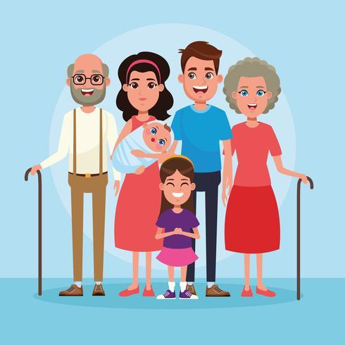 Famiglia con cartoni animati per bambini vettore