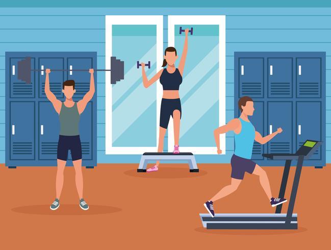 fitness maschile facendo esercizio fisico vettore