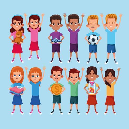 Fumetto di donazione e beneficenza per bambini vettore