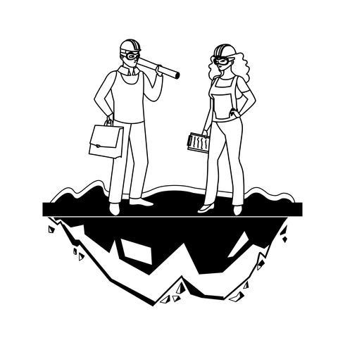 operaio costruttore costruttore femminile con capo architetto vettore