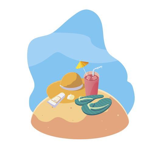 spiaggia di sabbia estiva con cocktail e icone scena vettore
