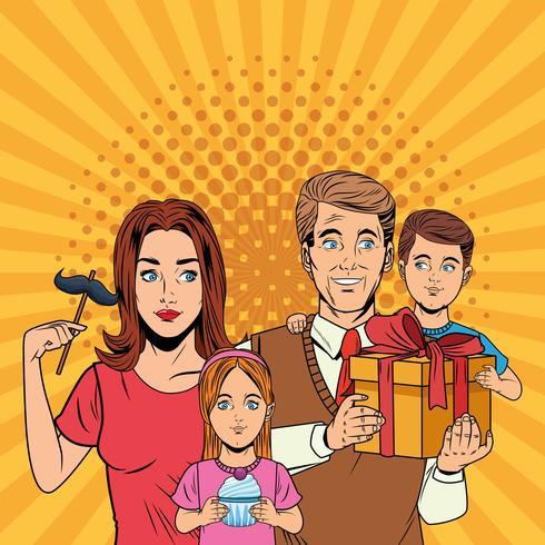 Cartoni animati pop art per la festa del papà vettore