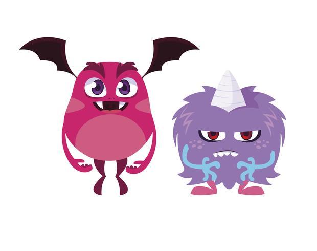 mostri divertenti coppia personaggi comici colorati vettore