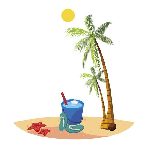 spiaggia estiva con palme e scena secchio d'acqua vettore