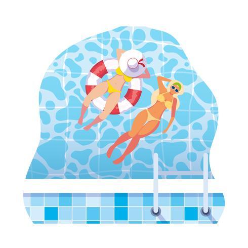 ragazze con costume da bagno e bagnino galleggiano in acqua vettore